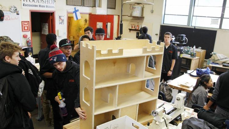 Escondido High woodworking students craft gifts for needy children at Christmas