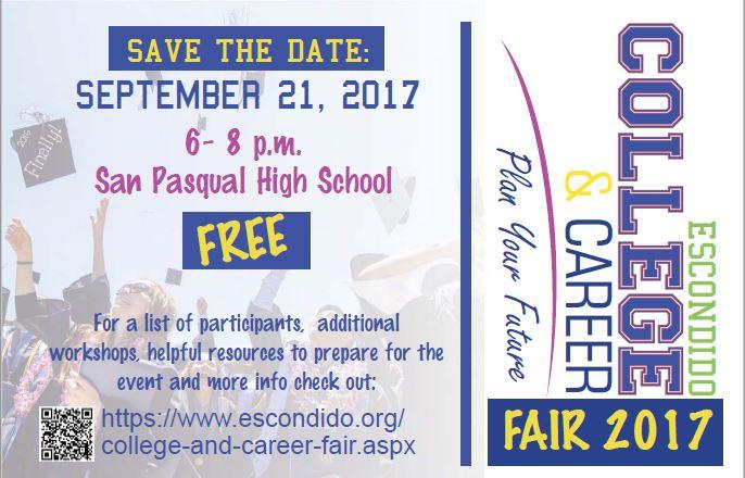 SAVE THE DATE: 2017 Escondido College & Career Fair