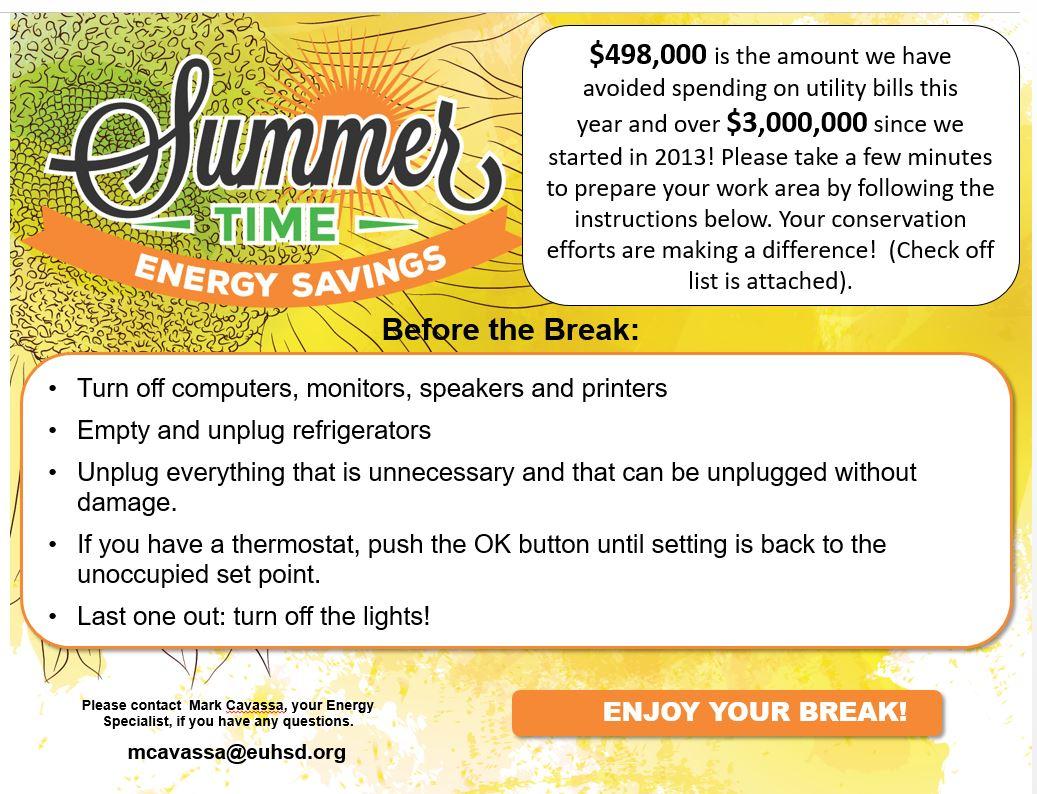EUHSD Summer Energy Savings Reminder