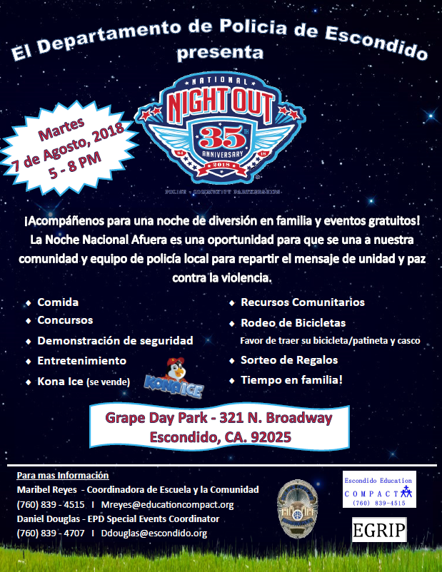 National Night Out Escondido 2018 in Spanish