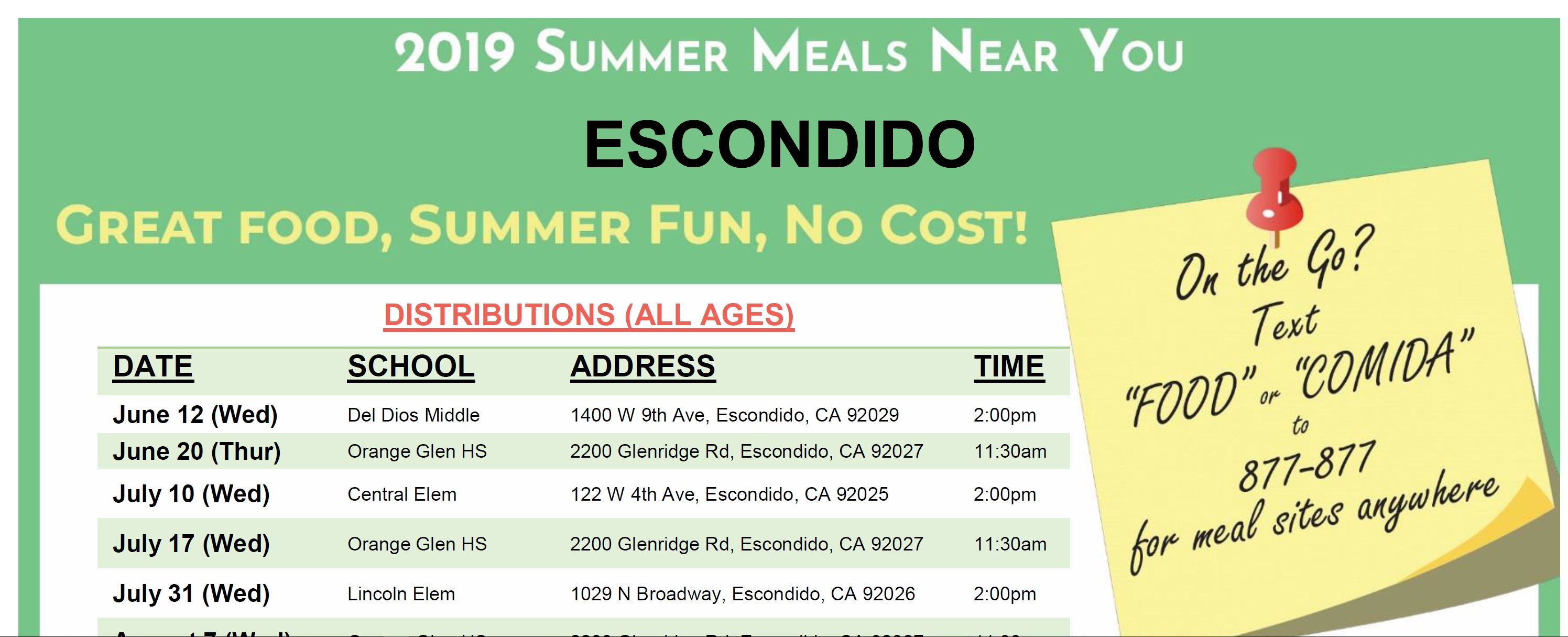 2019 Summer Meals Near You